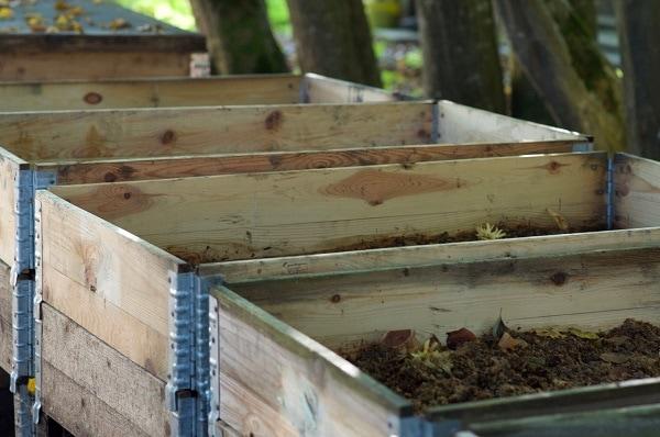 Holzkisten mit Humus