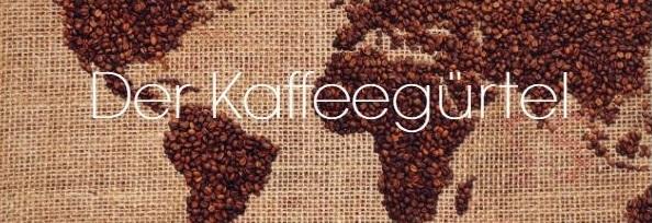 Kaffeesack mit Weltkarte aus Kaffeebohnen und Schriftzug Kaffeeguertel