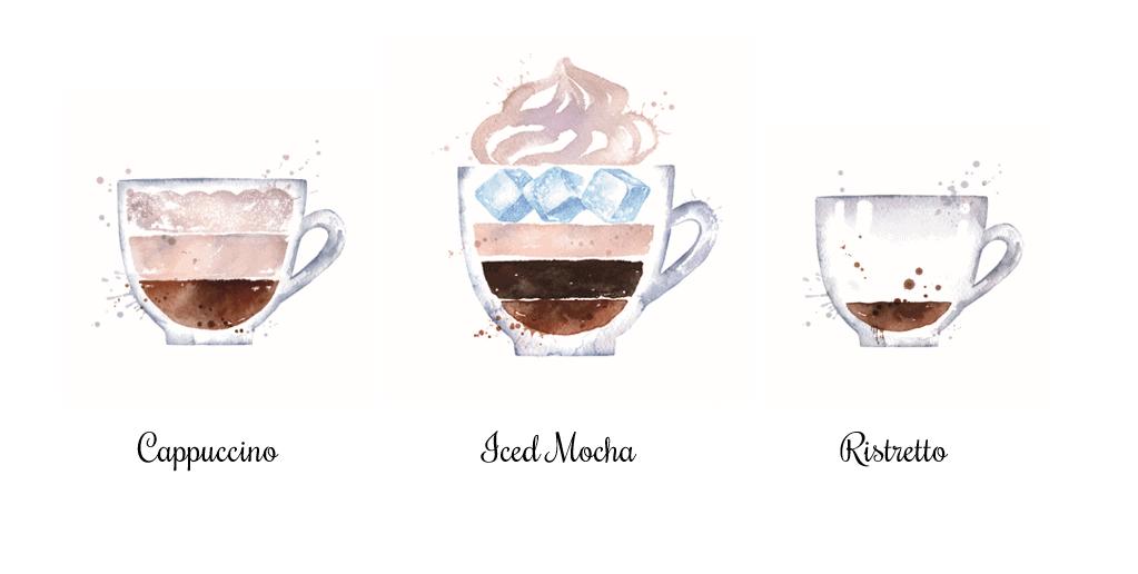 Querschnitt von drei gezeichneten Tassen mit unterschiedlichen Varianten der Espressozubereitung