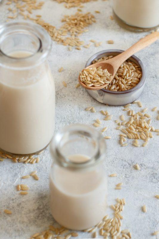 Vegan rice milk, non dairy alternative milk